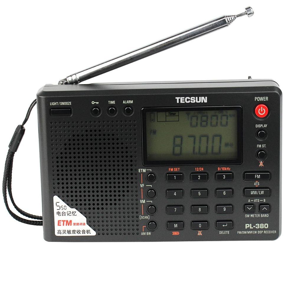 TECSUN PL-380 DSP Radio Stereo FM MW SW LW Radio Receiver Clock Alarm Black + Outdoor FM&SW Antenna Y4130A