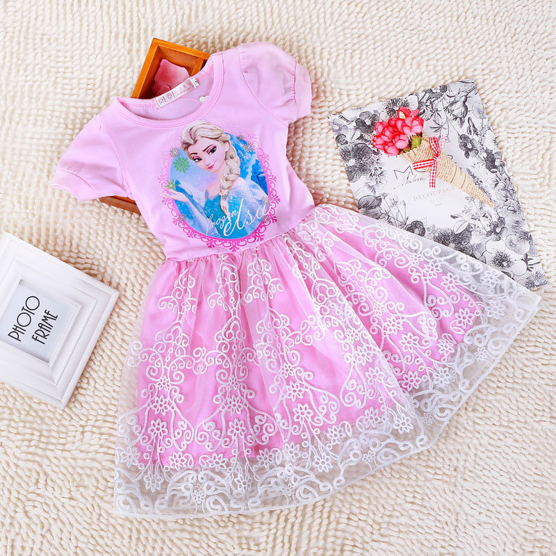 Summer Girls Cartoon Dresses T shirt Top + Mesh Bottom Kid Girls Dress Princess Baby Dress for 2-7 Years, Size 90-140, LC07(China (Mainland))