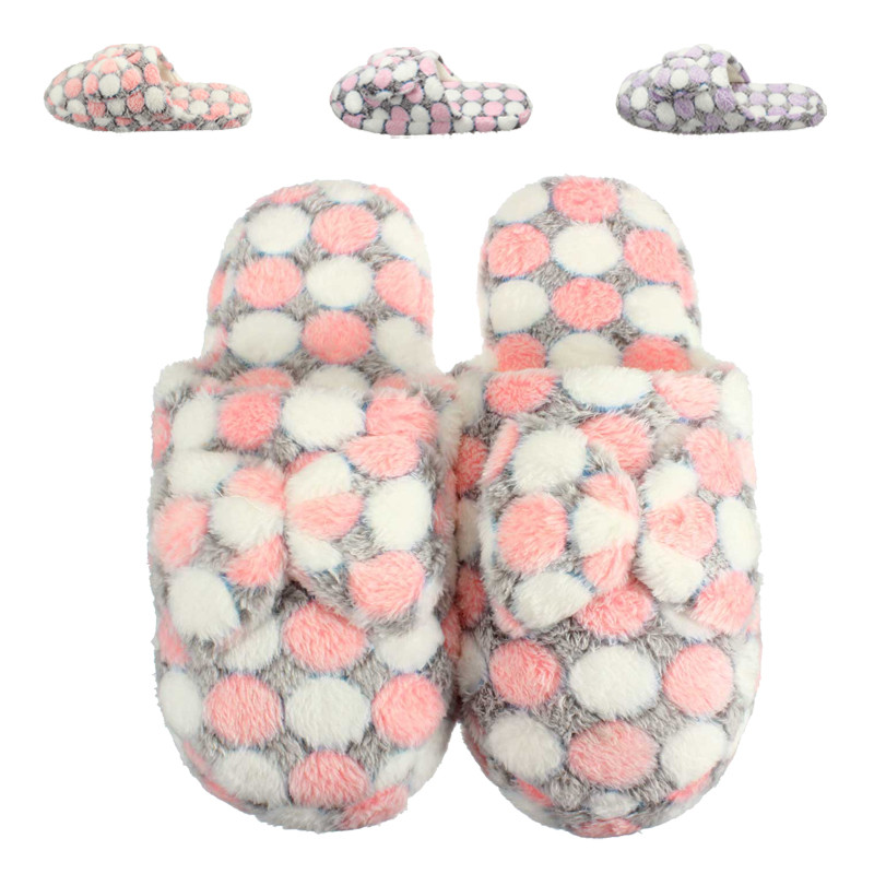 Autumn And Winter Dot Plush Coral Fleece Slippers At Home Cotton-padded Floor Slipper Women Indoor Floor Lady Non-Slip Shoe<br><br>Aliexpress