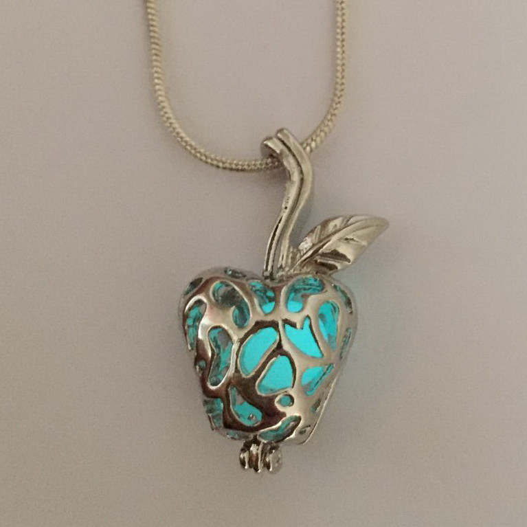 Blue Light Glowing Bead Apple Lokect Pendant Necklace