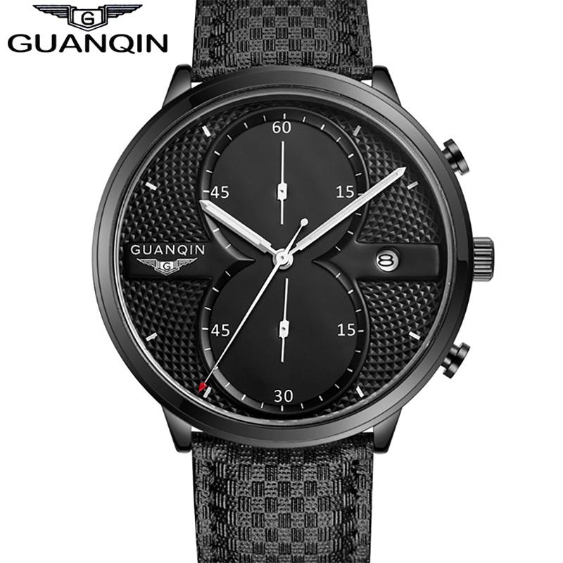 Luxury New Brand GUANQIN Big Dial Designer Quartz Watch Men Sports Casual Wristwatch male Leather Strap business clock Stopwatch(China (Mainland))