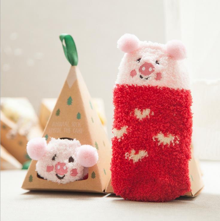1 Пара 0-4 Лет Утолщаются Детские Носки Cute Cat Овец медведь Дети Носки Мягкие Non-slip Малышей Девочки Мальчики Носки 13 цвета
