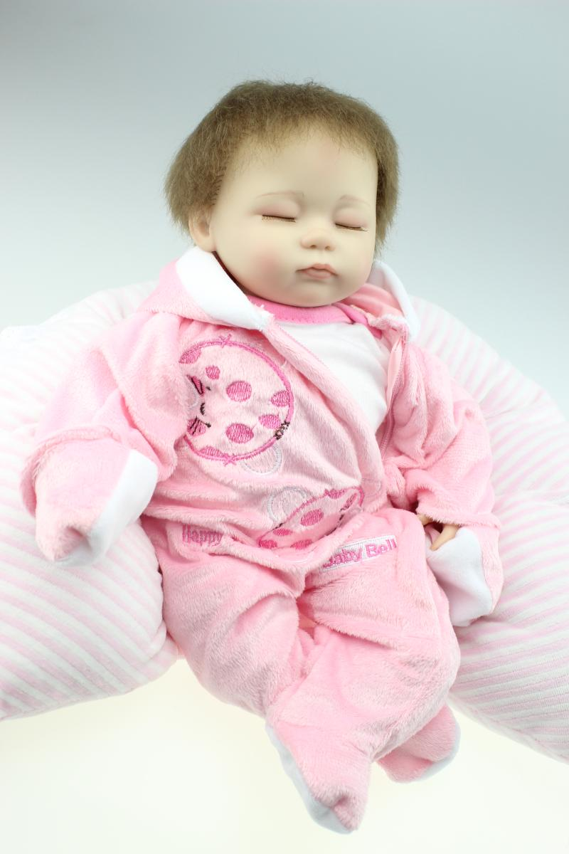 18 inch 45cm baby reborn Silicone dolls, lifelike doll reborn babies toys for girl princess gift brinquedos Children's toys(China (Mainland))