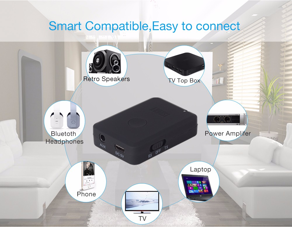August MR260 Bluetooth Transmitter Receiver aptx 2-In-1 Dual Mode Stereo Audio Sender and Receiver Bluetooth Enable Audio Device