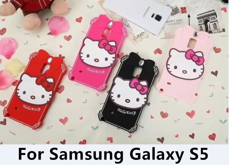 New Fashion Hello Kitty With Diamond Silicone Soft Phone Back Cover Case For Samsung Galaxy S5 i9600 10PCS(China (Mainland))