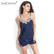 Lisacmvpnel Бренд Высокого Качества Вышивки Женщин Пижамы V-образным Вырезом Рубашки + Короткий Набор Женские Летние Домашняя Одежда(China (Mainland))
