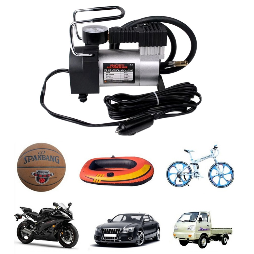 Heavy Duty Portable Multi-Use 12V 10A  Air Pump Compressor Tyre Inflator Metal Emergency Air Compressor Power Supply Tire Tools<br><br>Aliexpress