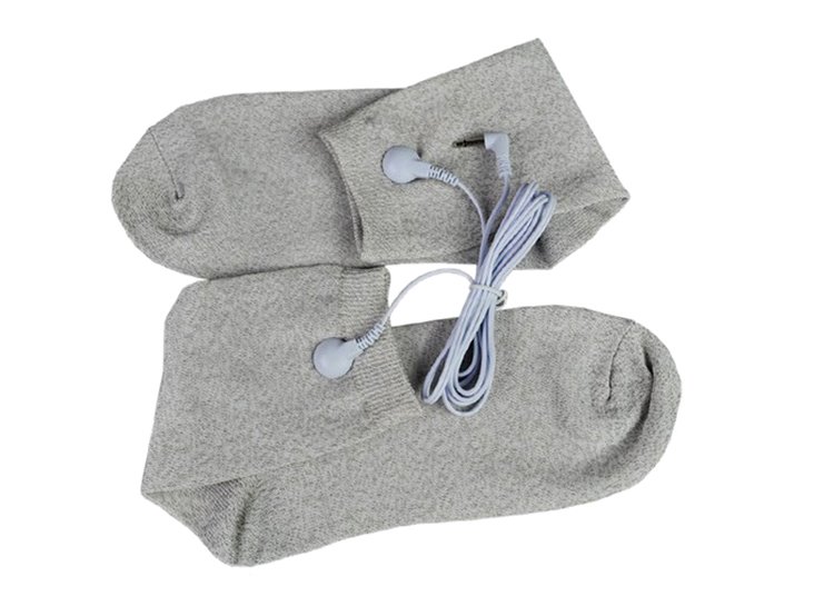 One Size Conductive fiber TENS/EMS electrode Socks Reflexology for physical therapy Massage Socks+2 Kinds of cable(110cm)(China (Mainland))