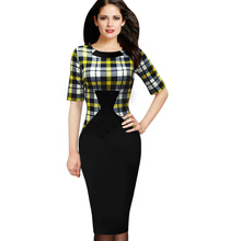 New 2015 Womens Elegant Vintage Houndstooth Colorblock Tunic Wear To Work Business Casual Party Bodycon Pencil Dress 461(China (Mainland))