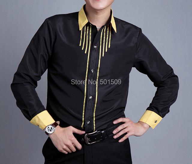 Черный / золотой ткань в полоску блесточки украшение мужская смокинг рубашки ну вечеринку ...