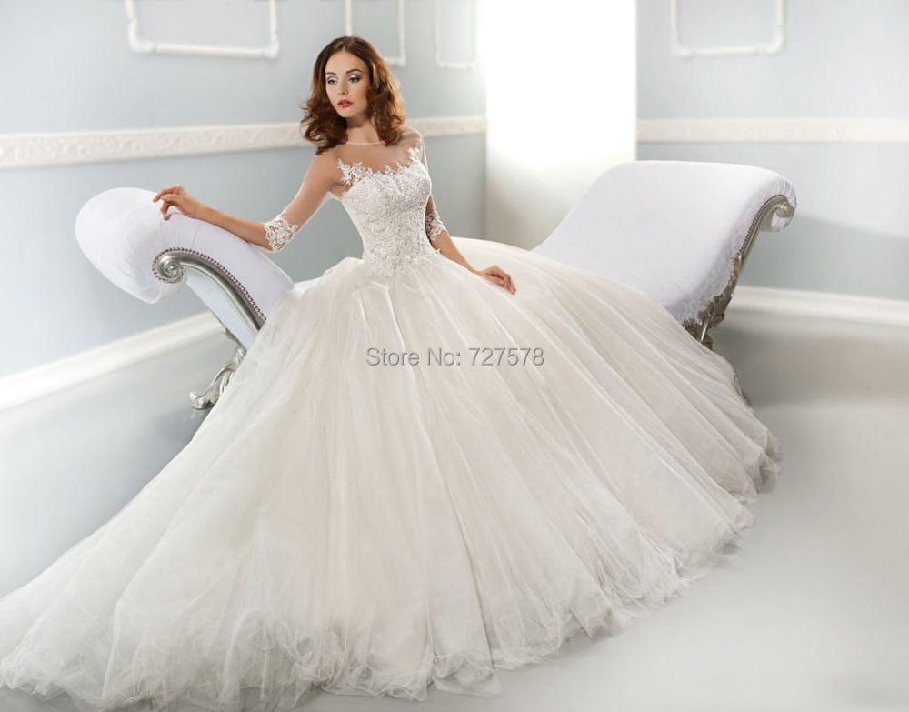 Unique Lace Wedding Dresses : Unique lace organza wedding dresses gowns custom made chapel train g
