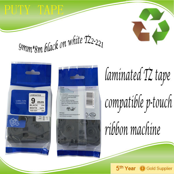 Free shipping Office use TZ-221 9mm tz tape, Compatible P-touch TZ label tape for label printer<br><br>Aliexpress