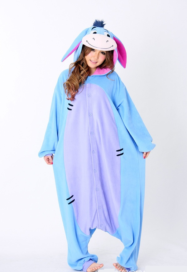 Free Shipping New Unisex Men Women Adult Pajamas Cosplay Costume Animal Onesie Eeyore Donkey Sleepwear Plus
