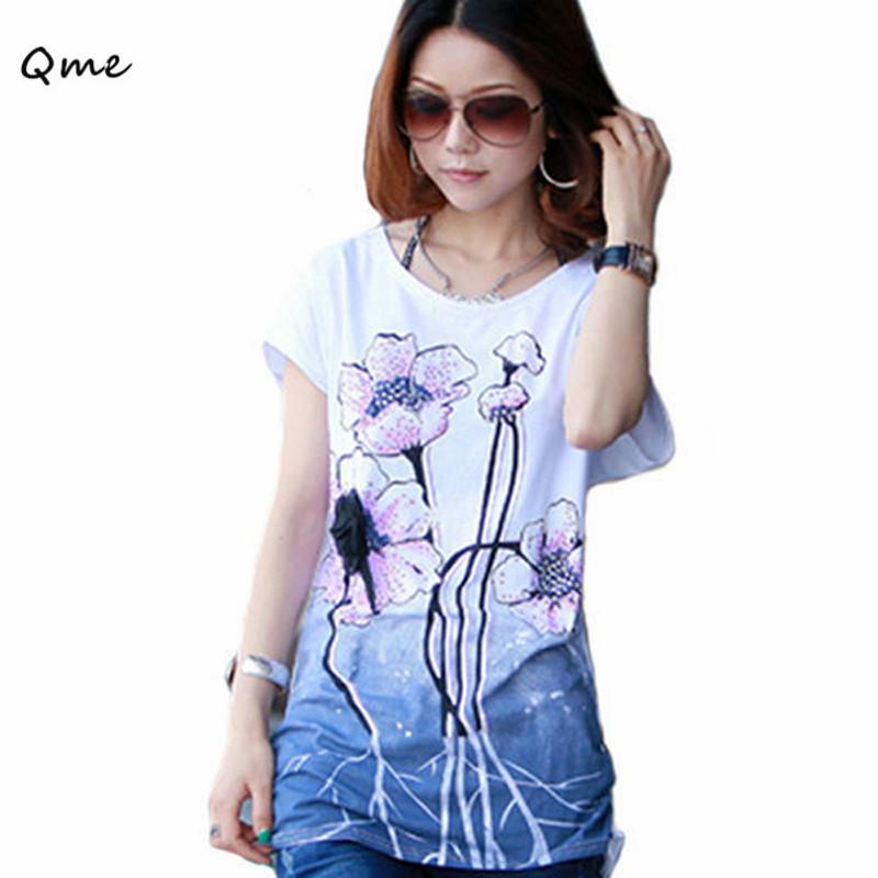 Plus Large Size Korean Fashion Women's flower T Shirt Loose Short-Sleeved big large sizes for women xxxl xxxxl 3xl 4xl WC045(China (Mainland))