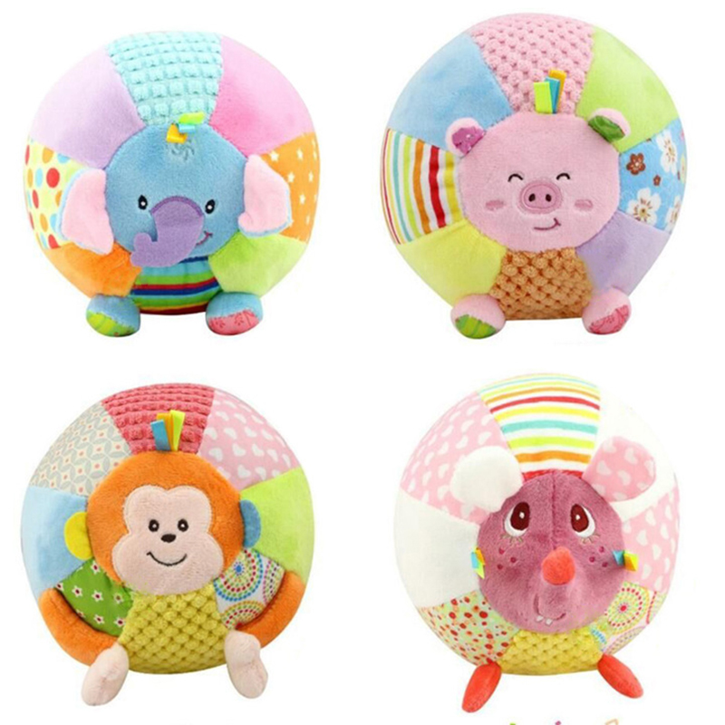 Baby Sound Cloth Toy Animal Ball For Kids Activity Baby Toys Cartoon Pink Pig Monkey Soft Jouet Early Educational Ball WJ370(China (Mainland))