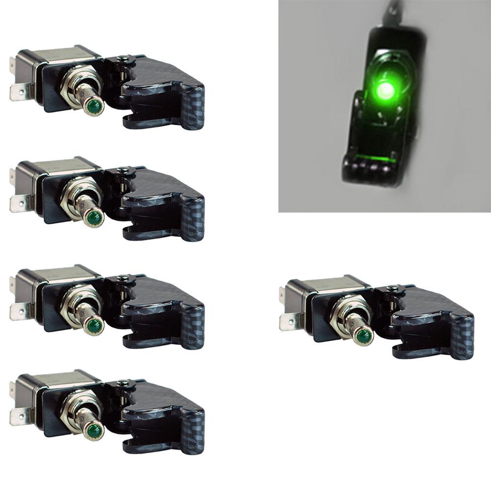 Гаджет  5Pcs 12V 20A Car Carbon Fiber Green LED Toggle Switch Light Racing SPST None Электротехническое оборудование и материалы