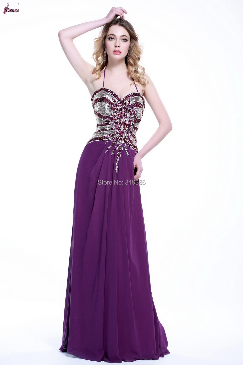 SBS2078 Beaded Bodice Long Purple Prom Dresses Real Gown 2015 Shiny Sequins Top Party Dress(China (Mainland))
