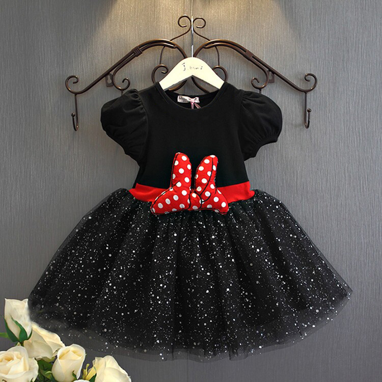 Toddler Girl Short Sleeve Minnie Dress Summer Baby Girls Clothes Cartoon Mouse Chiffon Princess Dresses Children's Clothing(China (Mainland))
