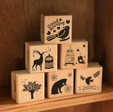 New vintage animal series wood scrapbooking stamp wholesale Stamping gift 6 designs/Labels, Indexes & Stamps H0910