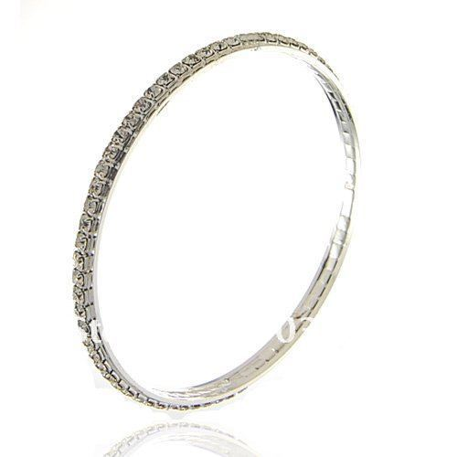 fashion popular single row silver rhinestone crystal silver metal bangle