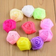 50pcs/Lot 1.5'' Multicolors Mini Chiffon Voile Fabric Rose Flower Bud for Headband Corsage Wedding Dress Hat Shoes Embellishment(China (Mainland))