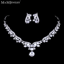 Silver Leaf Crystal Necklace Earrings for Women