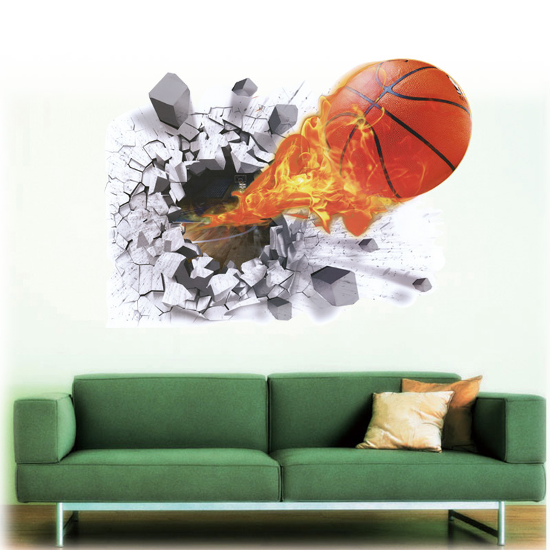 3d effect basketball wall stickers removable home decor. Black Bedroom Furniture Sets. Home Design Ideas