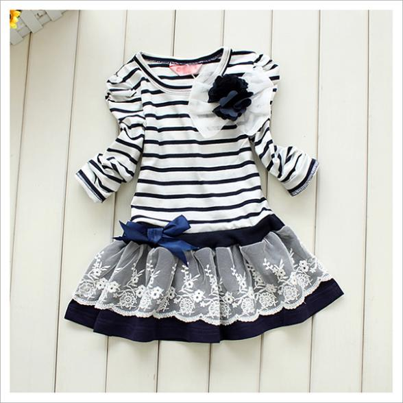New Cheap Price Girls Kids Lace Dresses One-Pieces Long Sleeve Bowknot Flower Stripes Dress 1-6Y<br><br>Aliexpress