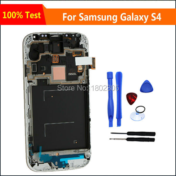 High Quality LCD Display For Samsung Galaxy SIV S4 i9505 i9500 With Touch Screen Digitizer Frame Assembly White,Free Shipping(China (Mainland))