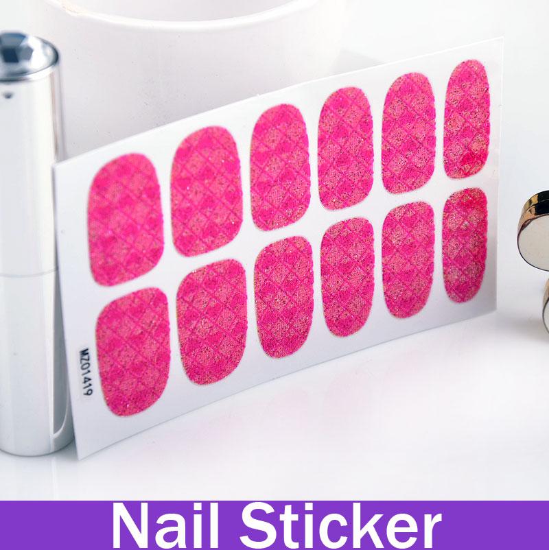 2014 New Rosy Heart Plaid Jigsaw Patterned Nail Sticker fingernail designs fashion tips women(China (Mainland))