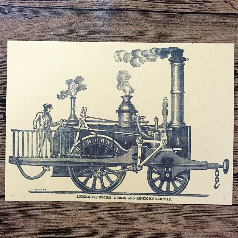"RMT-013 retro vintage kraft paper ""Driving steam cars"" home decorative pictures for bedroom wall art craft sticker 42x30 cm(China (Mainland))"