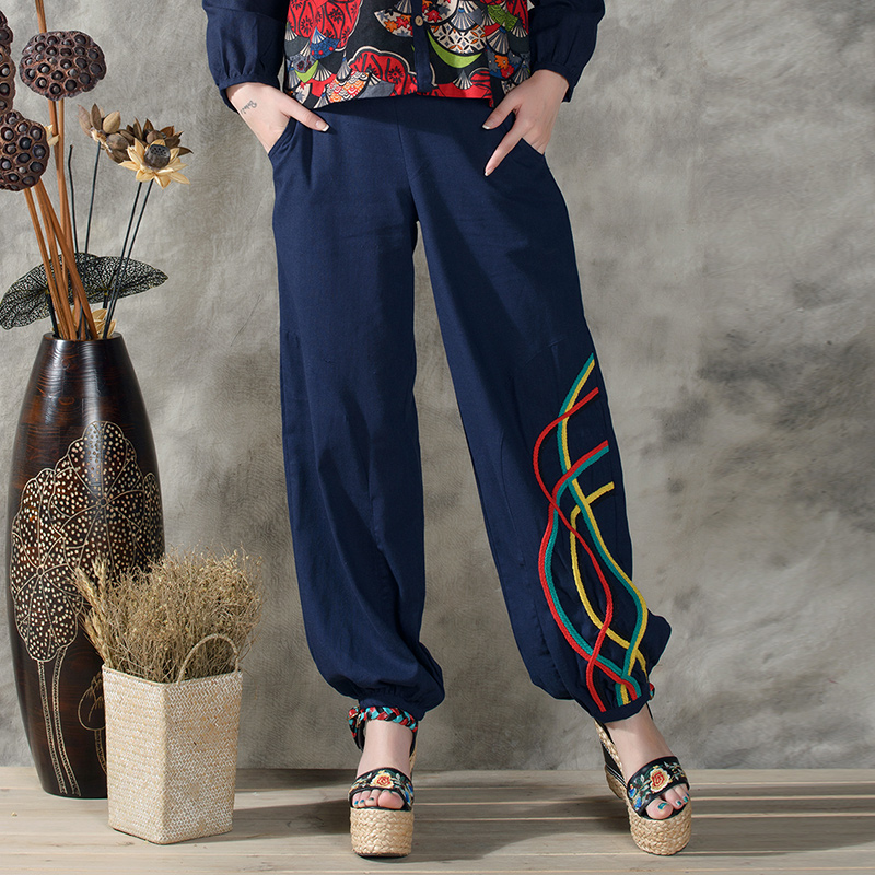 Chinese style flare pants autumn summer ethnic vintage plus bloomers pantalettes knickerbockers wide leg pant trousers CD347