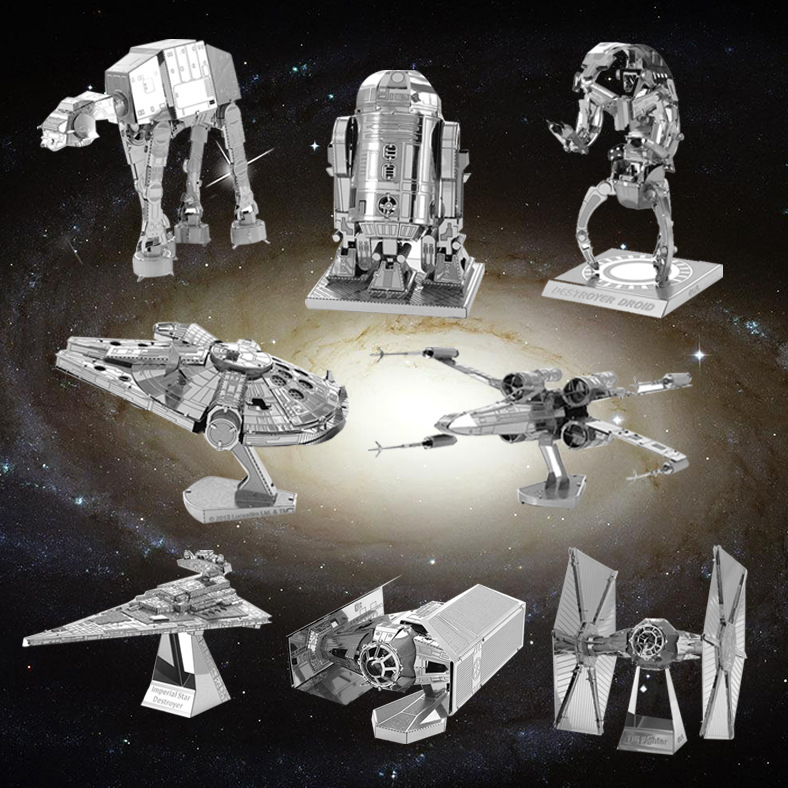 7 pcs/1lot Star Wars 7 Spacecraft warship jigsaw Puzzle toys 2016 New 3D Nano metal DIY Puzzle R2-D2 milenium falcon TIE fighter(China (Mainland))
