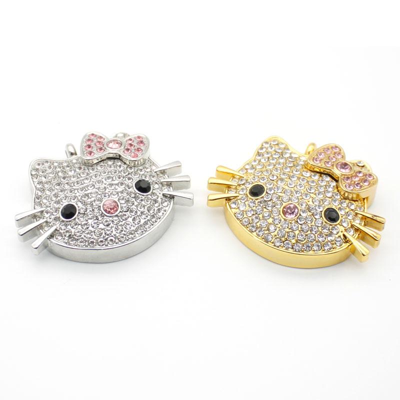 Hello Kitty Jewelry Crystal Pendrive Cartoon Hot Sale USB Flash Drive 4gb 8gb 16gb 32gb Full Capacity U Disk Free Shipping(China (Mainland))