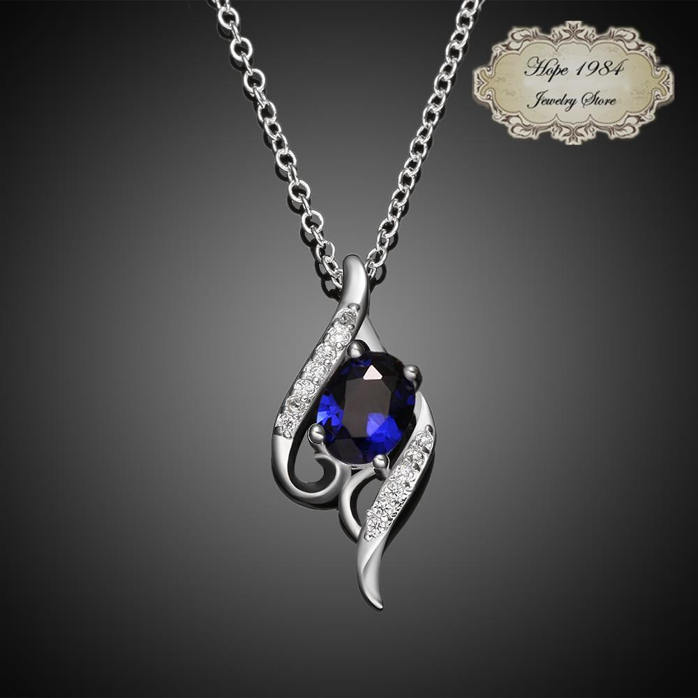 2015 New Silver plated Vintage elegant streamlined pendants and necklaces for women fashion jewelry blue white