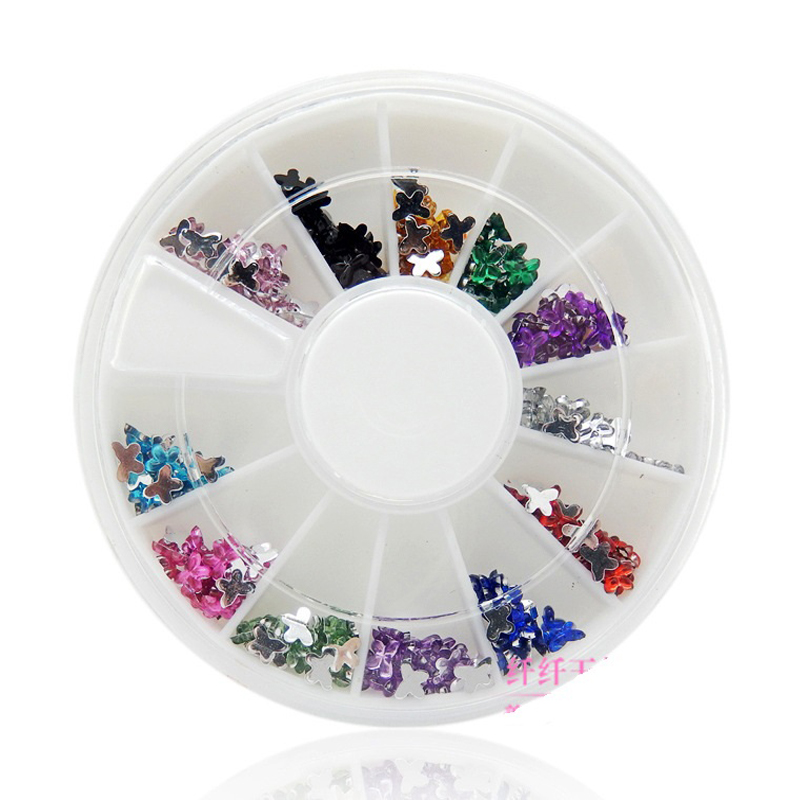 Nails Decorations New Arrive Fashion butterfly Nail Art Decorations DlY 3D Rhinestones For Nails Wholesale Nail Tools(China (Mainland))