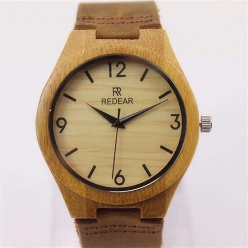2016 HOT! бамбук Деревянные Любителей Моды Случайные Женщины Человек Наручные часы Кожаный ремешок Аналоговый Кварцевые Часы Relogio Masculino Feminino