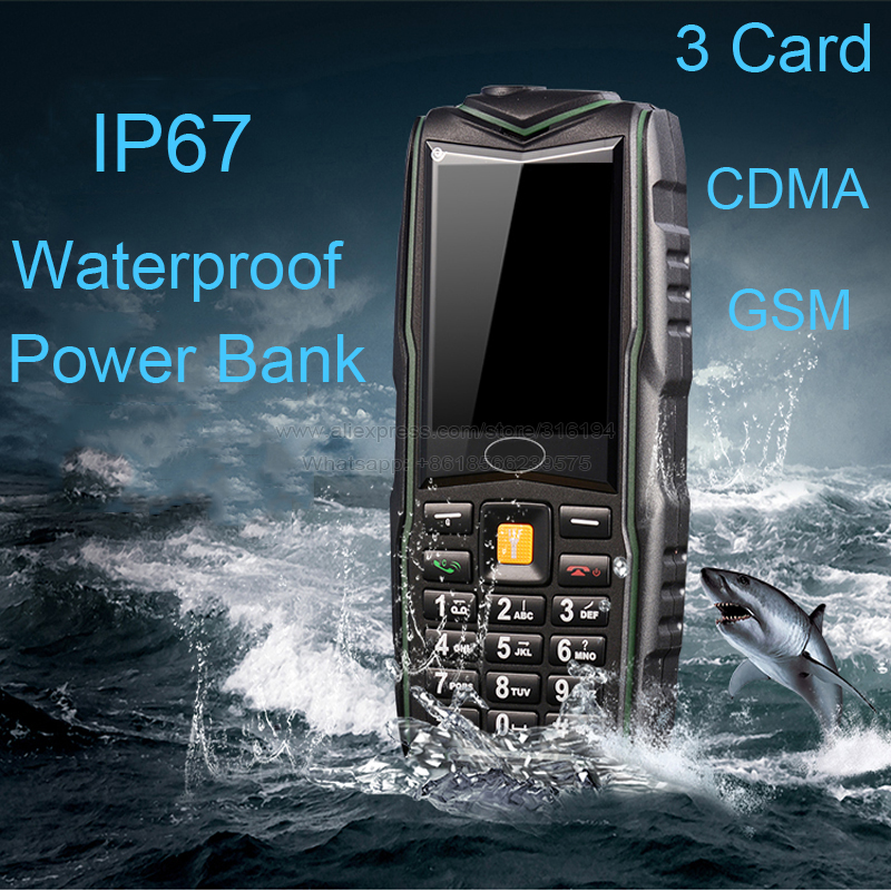 New Arrival M18 IP67 Waterproof 8800mAh Three SIM Cards Dual-bands Bluetooth Torch Power Bank Mobile Rugged Phone P126(China (Mainland))