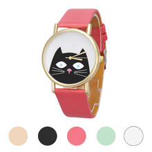 Mance-H5 Colorful Fashion Casual Cartoon Cat Women Girl Student Leather Band Analog Quartz Dial Wrist Watch relogio feminino