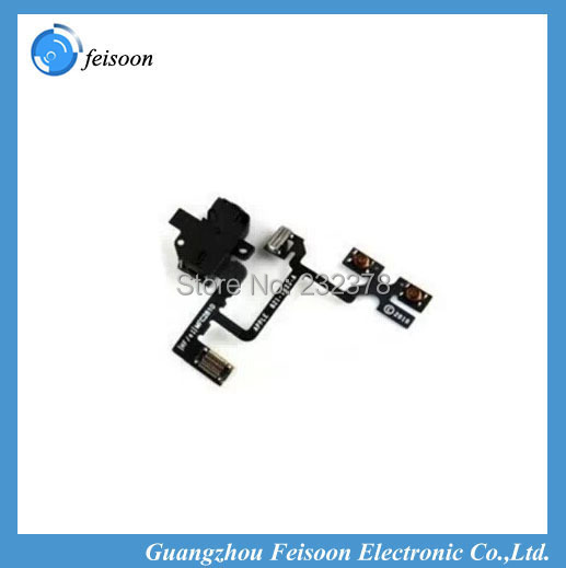 10pcs/lot Brand New Headphone Audio Jack Volume Flex Cable for iPhone 4 4G Replacement Free Shipping(China (Mainland))