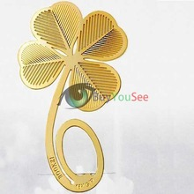 BuyYouSee Shop  Reading Four-leaf Clover 18K Gold Metal Clip Bookmark Label Book Mark(China (Mainland))