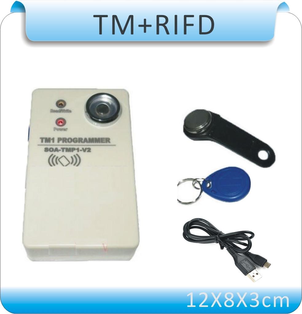 Free shipping Upgrade TM copier DS-1990A I-Button 125KHz RFID Copier Duplicator 10 TM card&10 pcs Em4305 cards()