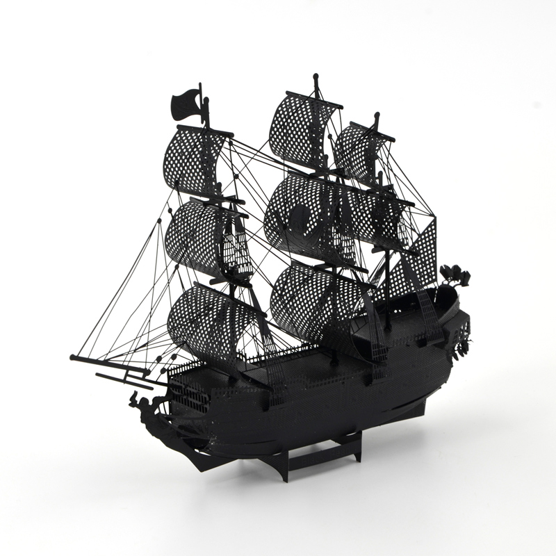 Black Pearl 3D Metal Puzzle Ship Model Queen Anne Revenge Chinese Aircraft Carrier Liaoning DIY Assembly Toys for Adult(China (Mainland))