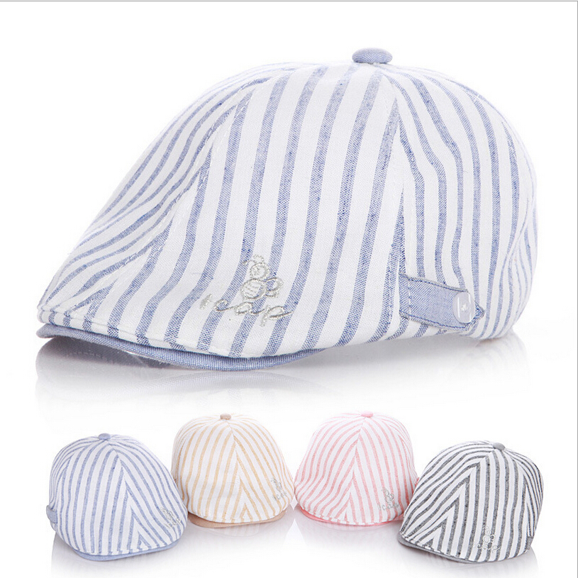Hot Sales!!Super Cool Leisure Striped Child Hat Kid Cap Fashion Baby Beret Cotton Boy Cap Comfortably Adjusted Size(China (Mainland))