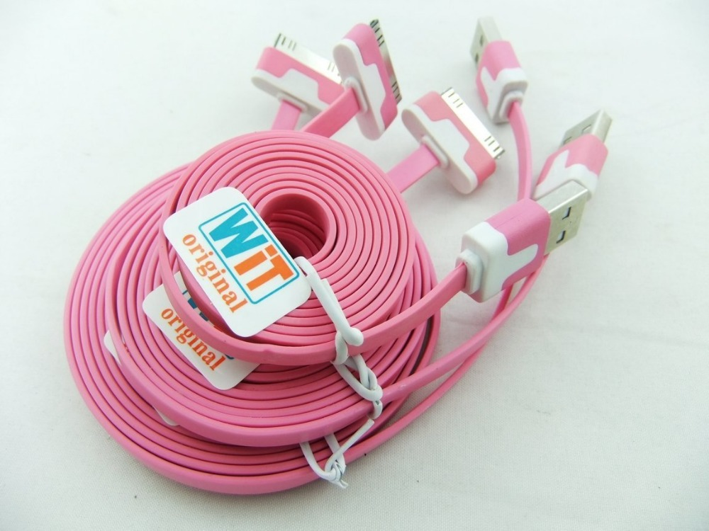 3pcs/lot 3in1 3ft 6ft 2m 10ft Extra Long Noodle Flat USB Charger Cable Cords for Iphone 4 4s Ipod Touch 4 Nano 6 (pink)(China (Mainland))