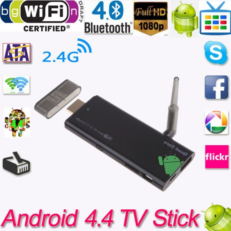 CX919 Android 4.4 Mini PC Box TV Stick Quad Core 2G/8GB Bluetooth 1080P with External WiFi Antenna XBMC DLAN EU/US Plug(China (Mainland))