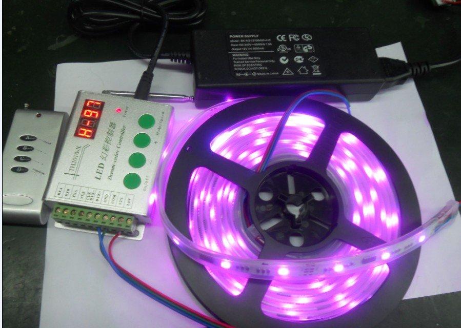 5m TM1809 dream color strip(30leds/m) in silicon tube,+1pcs 12V/6A power adaptor+ 1pcs RF dream color strip,all DC12V<br><br>Aliexpress