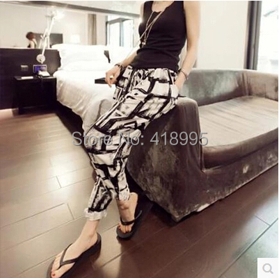 S-XXXL 2015 Summer Women Loose Pants Fashion Elastic Printed Harem Female Plus Size Long Trousers Pocket - Buy Your Want To store