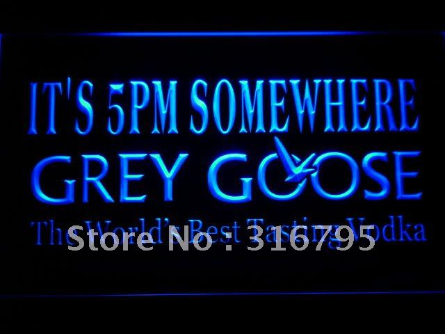 685-b It's 5 pm Somewhere Grey Goose LED Neon Sign with On/Off Switch 7 Colors to choose(China (Mainland))