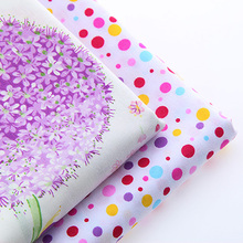 Cotoon Fabric For Sewing Material DIY Handmade HometextileFor Quilt Tablecloth Sheet Dandelions And purple Colored Dots 40*50cm